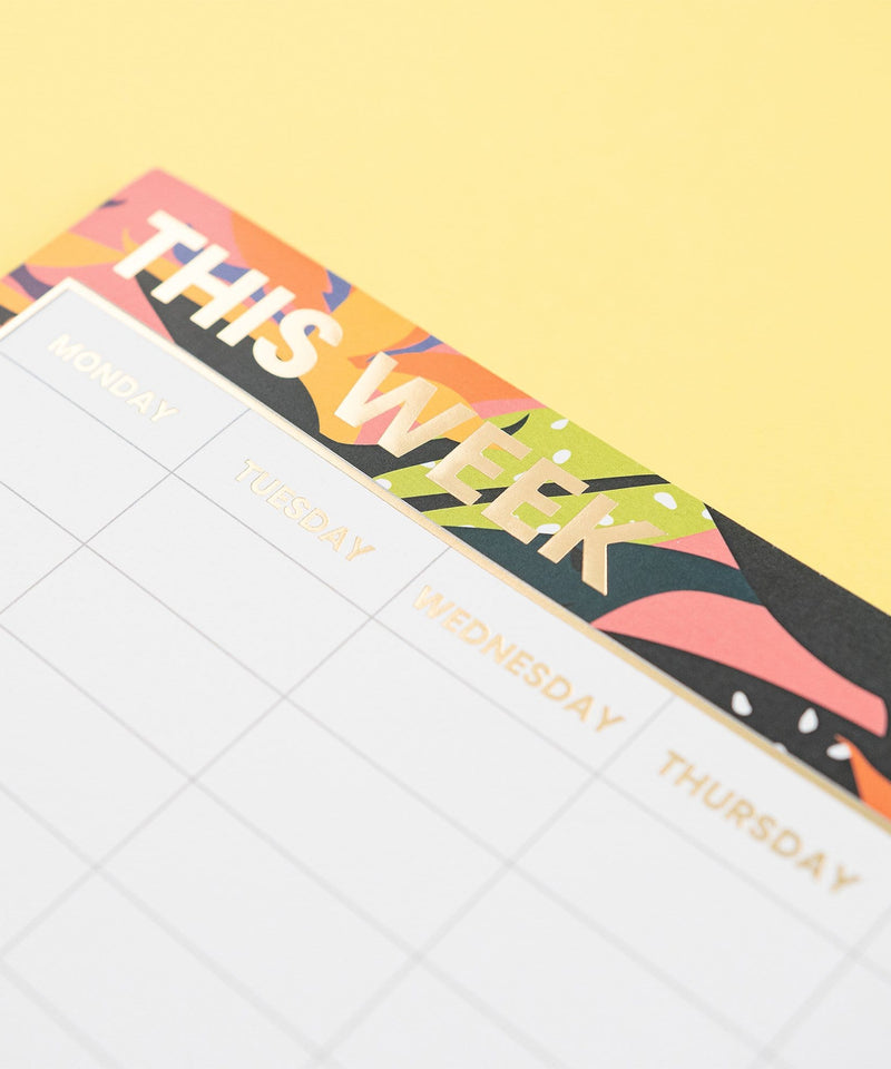 Undated Weekly Calendar Notepad - Birds of Paradise