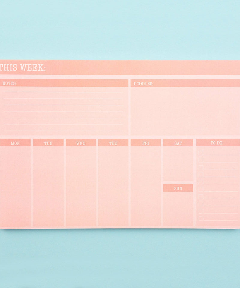 Weekly Calendar Notepad- Blush