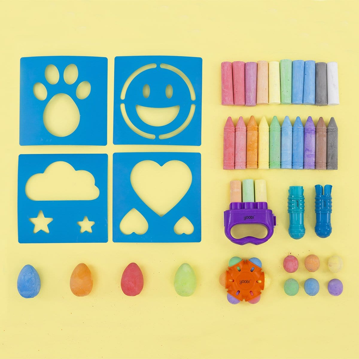 48 Piece Sidewalk Chalk Assortment of Poof Colors Great for Playing Outdoors Comes with a Convenient Carrying Case and Handle