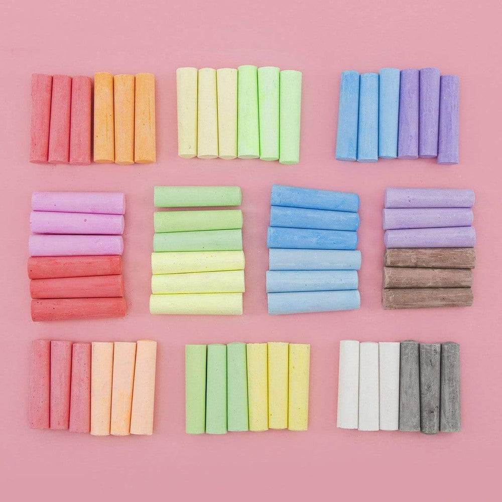 Washable Sidewalk Chalk, 60 Pack - Multicolor