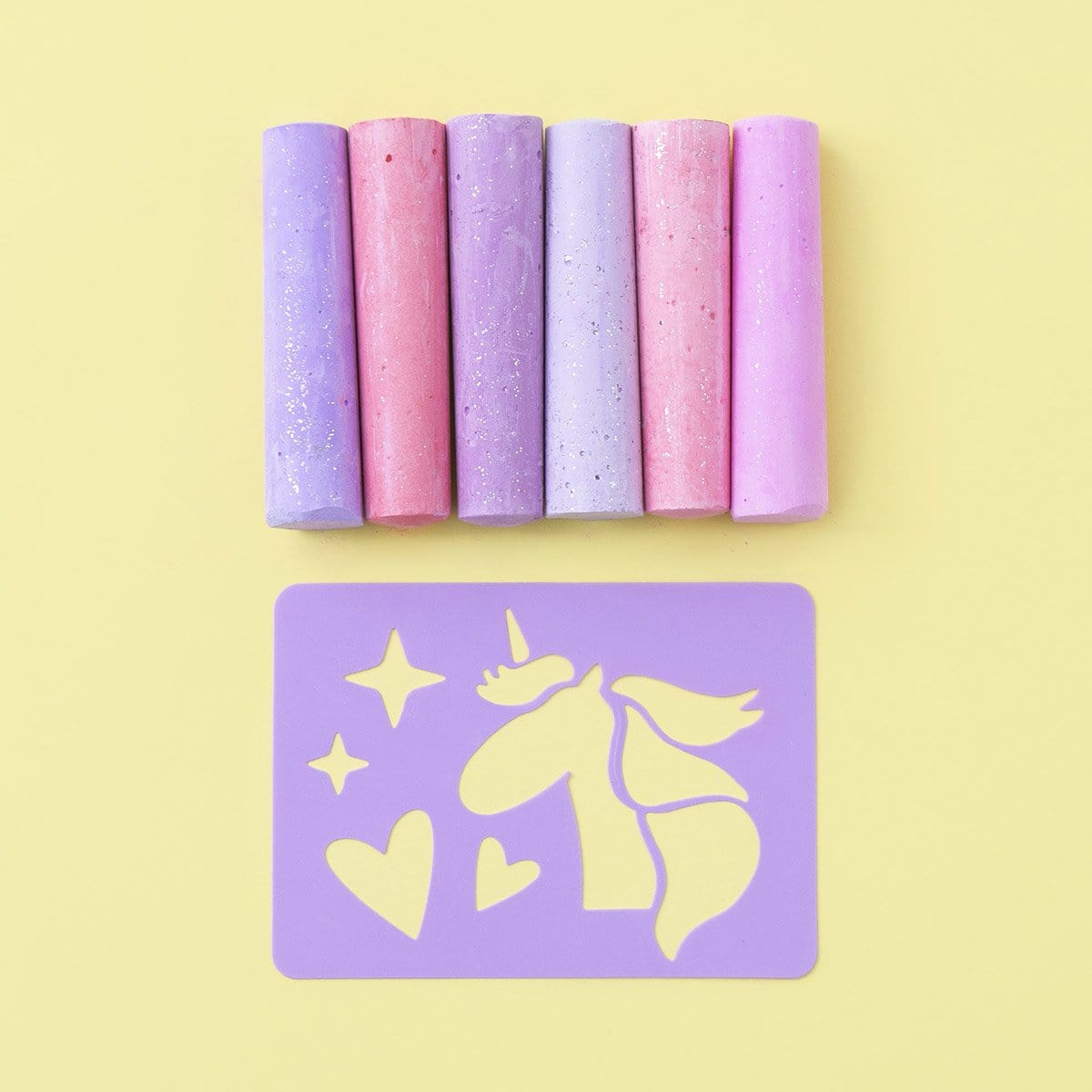 6 Pk Glitter Chalk - Unicorn