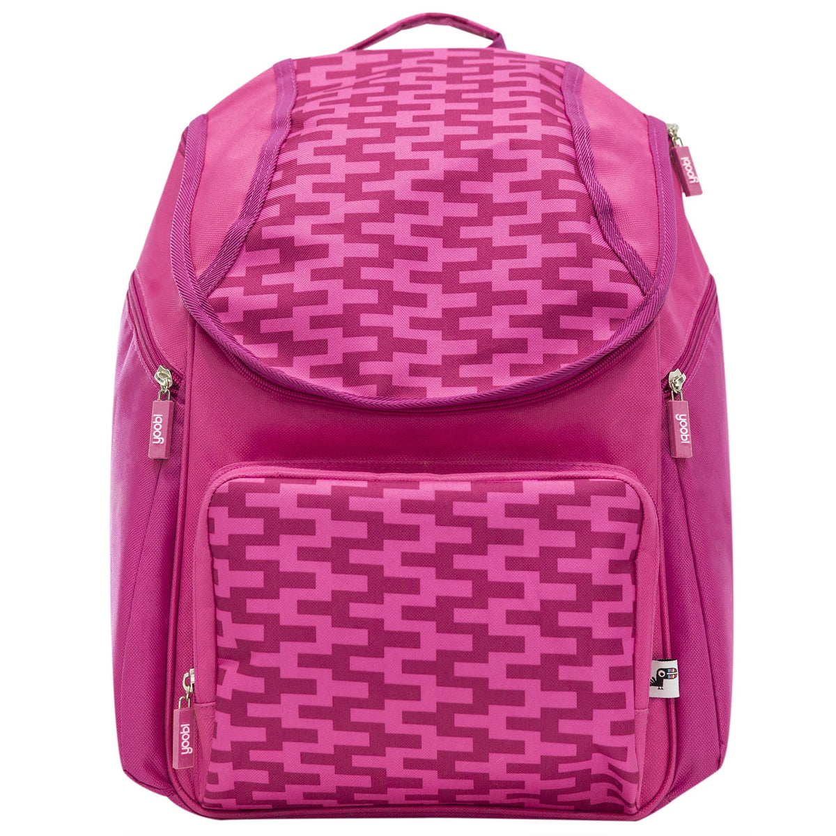 Top Flap Backpack - Pink Zig Zag