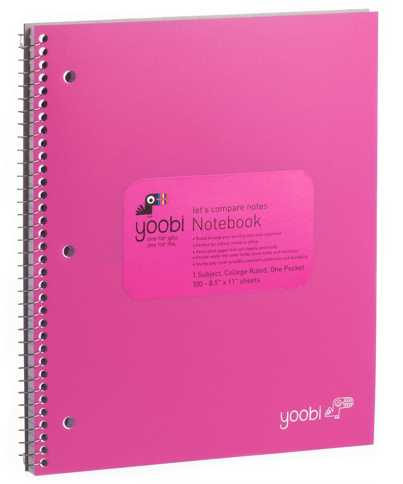 1 Subject Spiral Notebook, College Ruled - Pink