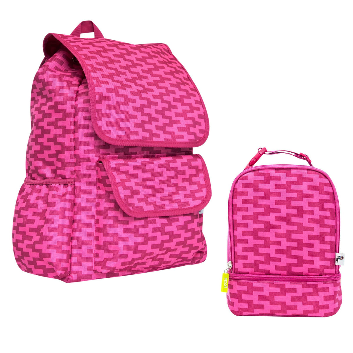 Drawstring Backpack Bundle - Pink Zig Zag