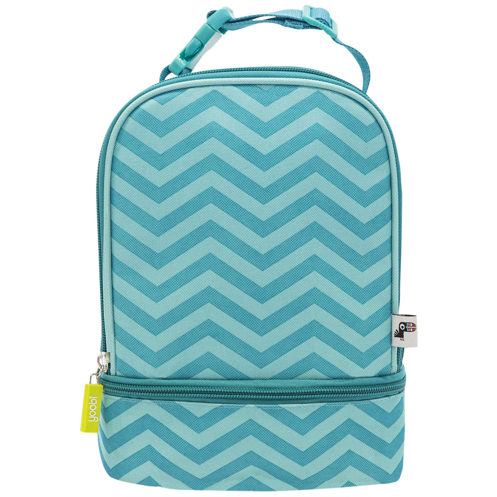 Dome Lunch Bag with Clip - Aqua Chevron