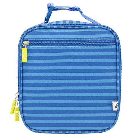 Square Lunch Bag with Clip - Blue Stripe