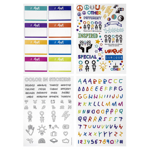 Yoobi x i am OTHER Stickers, 4 Sheets -Multicolor