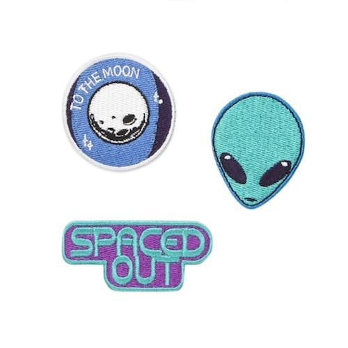 Spaced Out Iron-on Patches, 3 pack - Multicolor