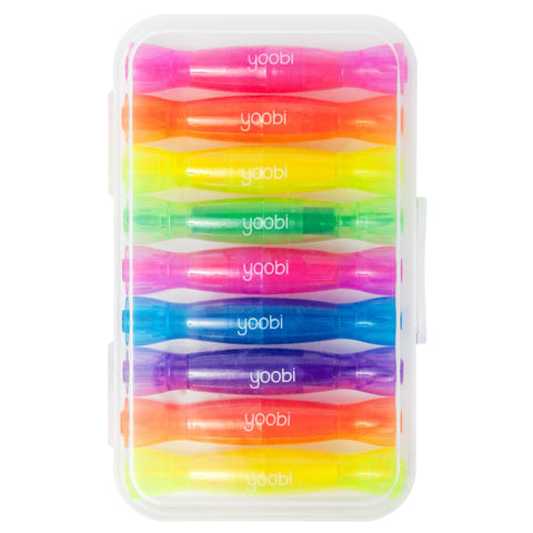 Double Ended Mini Highlighters, 9 Pack - Multicolor