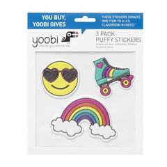 Yoobi-moji Puffy Stickers, 3 Pack - Multicolor