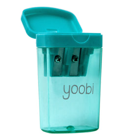 aqua plastic pencil sharpener with blue flip-top lid and aqua transparent case to catch shavings. Yoobi logo in white lettering on front