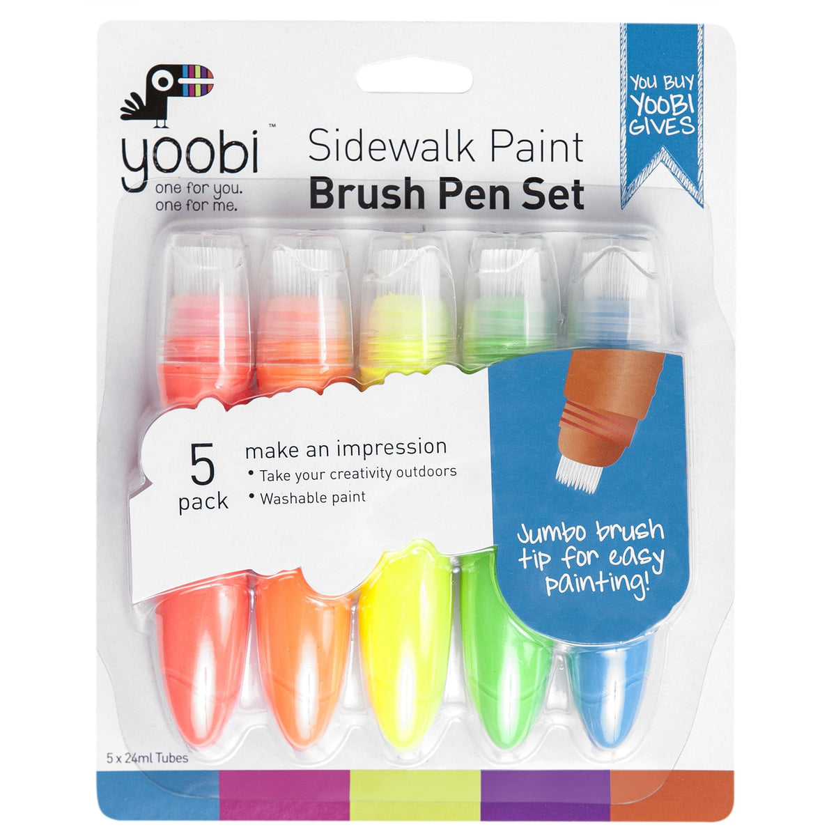 Sidewalk Paint Brush Pen, 5 Pack - Multicolor