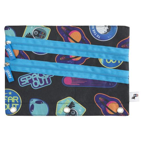 Triple Zip Binder Zip Case - Space Patch