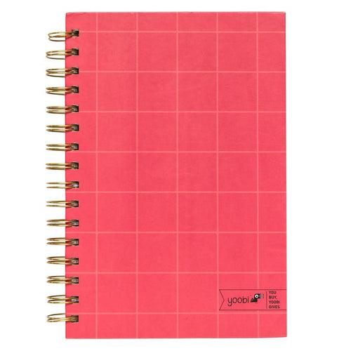 Spiral Notebook - Coral Grid