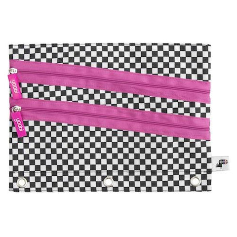 Triple Zip Binder Zip Case - Black & White Checker