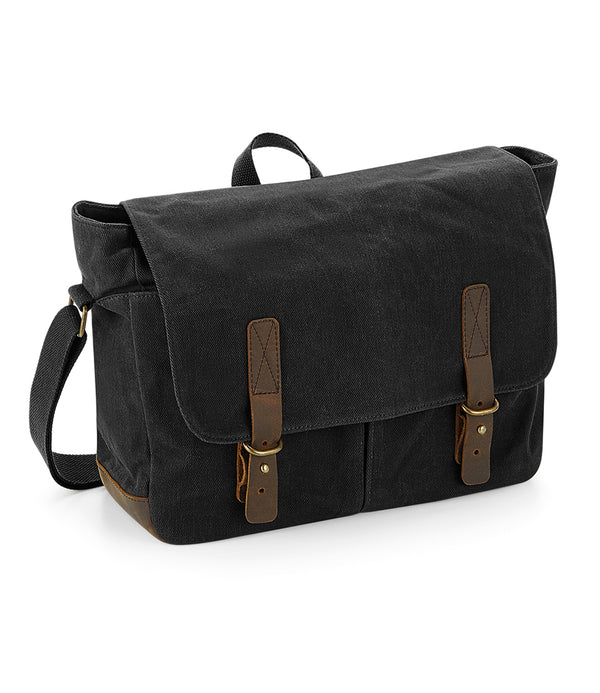 Black Heritage Waxed Canvas Messenger Bag