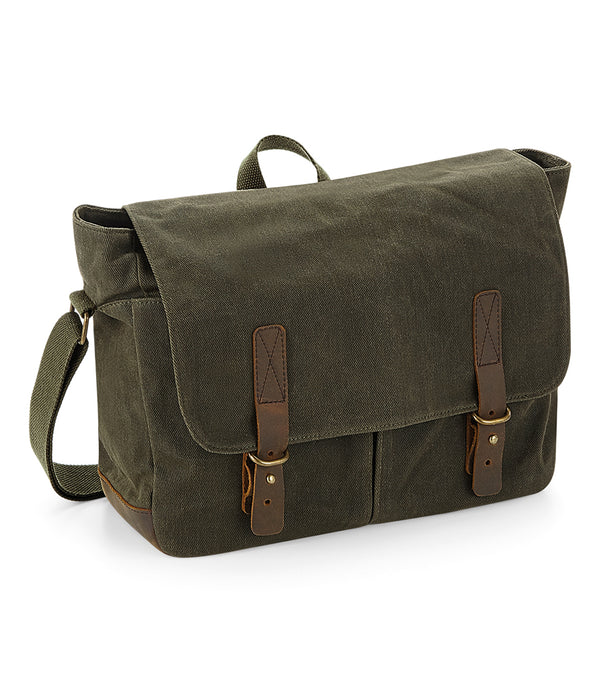 Olive Green Heritage Waxed Canvas Messenger Bag