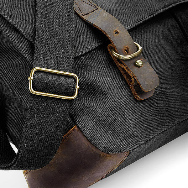 Heritage Waxed Canvas Messenger Bag detail