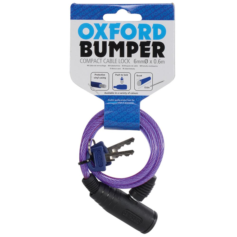 Oxford - Bumper cable lock 6mm x 600mm - Green / Purple / Red / Smoke