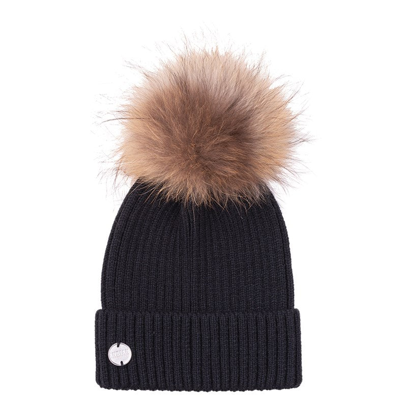 Indian Womens Pom Pom Beanie - Black