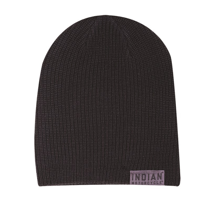 Indian Beanie with Block Logo - Black