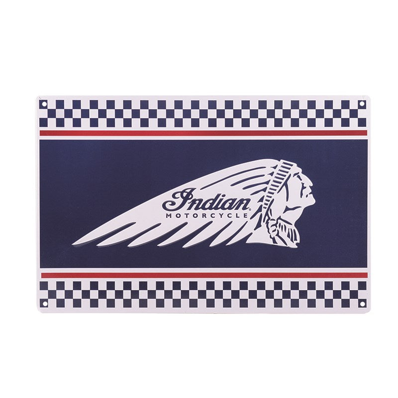 Indian Checkered Headdress Metal Sign