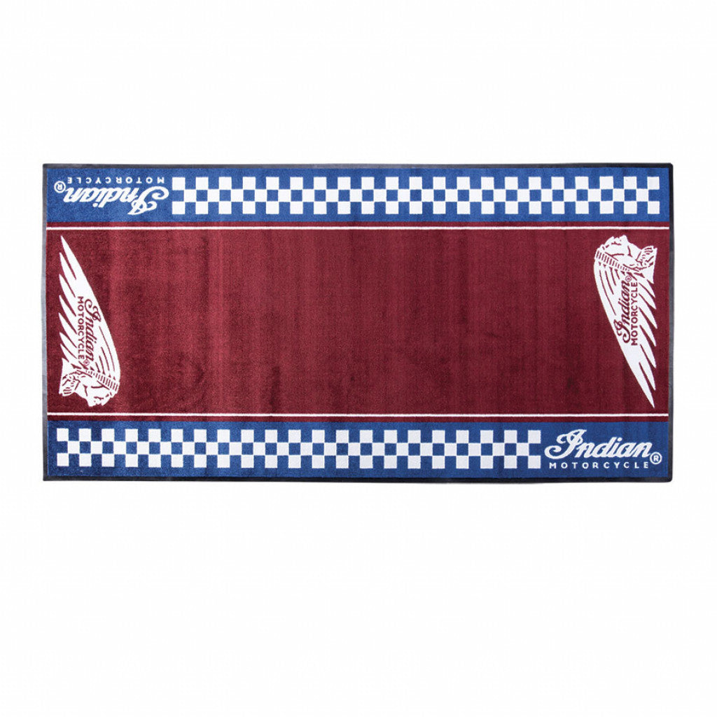 Indian Motorcycles Checkered Bike Garage Mat