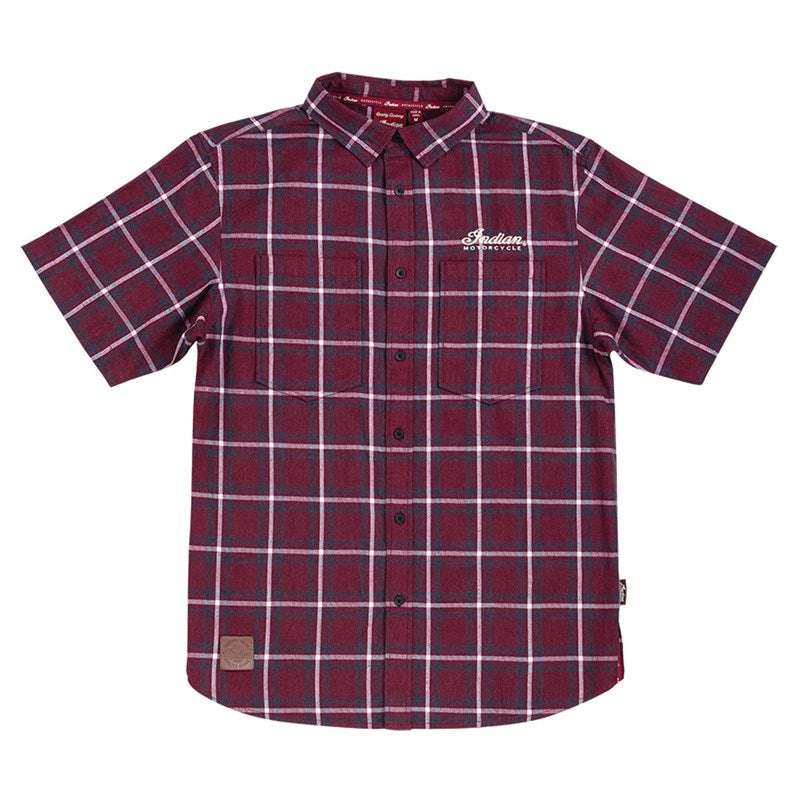 Indian Mens Headdress Plaid Short Sleeved Shirt - Port