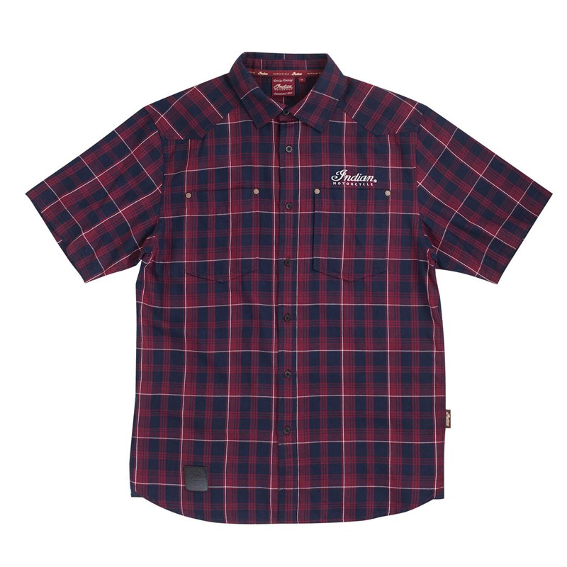Indian Mens Plaid Short Sleeved Shirt - Red