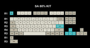 SA profile Dye Sub Keycap Set PBT plastic retro beige for mechanical keyboard beige grey cyan gh60 xd64 xd84 xd96 87 104