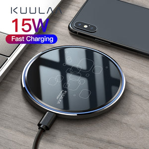 KUULAA 15W Qi Wireless Charger For Xiaomi Mi 9 Pro Mirror Wireless Charging Pad Fast Charger For iPhone 11 X XS Max XR 8 Plus