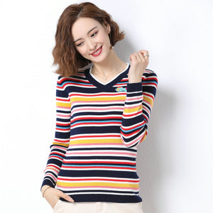 Autumn Winer Colour Stripe Pullover Sweater Women Slim Fit Wool Cashmere Knitte Top Woman Round Collar Jumper Trico Pull Ladies