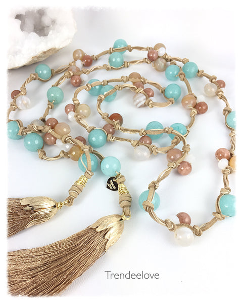 Lariat Necklace Aquamarine