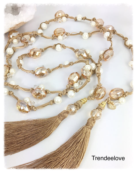 Lariat Necklace Ambar with Tassel