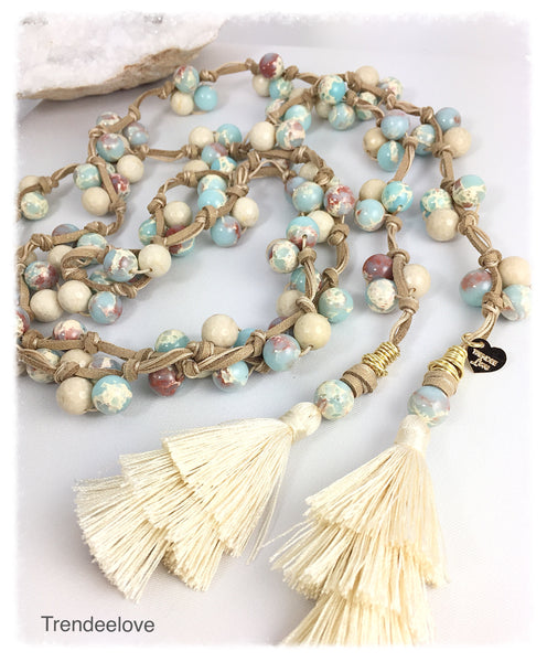Lariat Necklace Aqua and Beige Marble with Tassel
