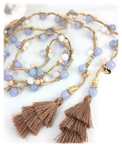 Lariat Necklace Blue and pink with Tassel