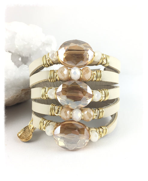 Maxi Cuff Leather / 3 Ambar Oval Crystals / Gold Plated