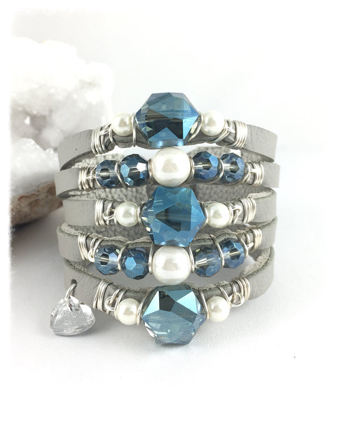 Maxi Cuff Leather / Blue Crystals / Silver Plated