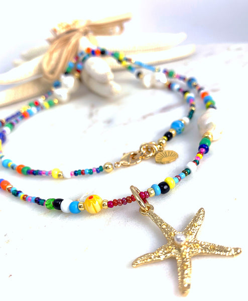 Boho Necklace Long - Baroque / Starfish