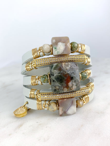Maxi Cuff Leather / Ocean Jasper Multi