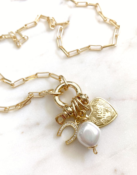 Multi-Charm Lock Necklace - Good Fortune