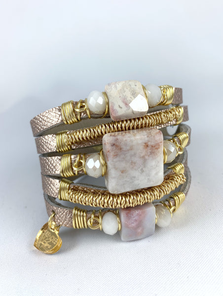 Maxi Cuff Leather / Rose Gold / Pink Marbled Jasper