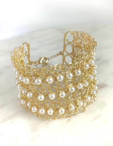 Wire and Pearls Cuff