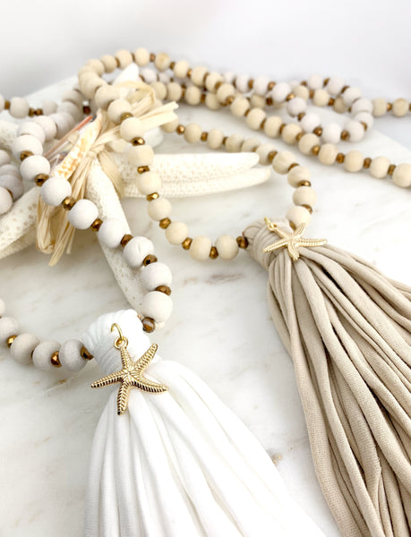 Coconut wood necklace with tassel