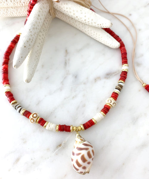 Red Tide Puka Necklace