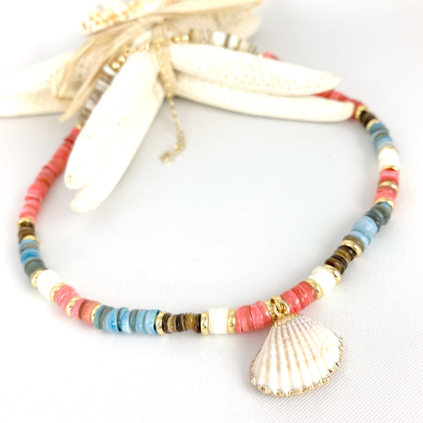 Puka Necklace Pink & Blue - Seashell