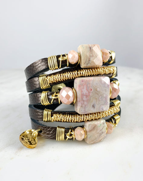 Maxi Cuff Leather / Metallic Brown/ Pink Jasper