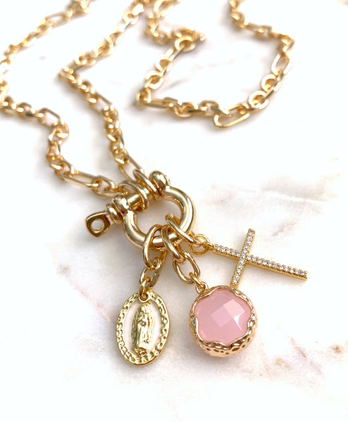 Multi-Charm Lock Necklace - Believe