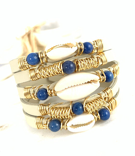 Maxi Cuff Leather / Cowrie Shell - Blue/ Gold Plated