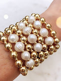 Freshwater Pearls and Gold Beads Bracelet